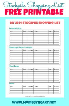 Save money by stockpile shopping - tutorial and free printable