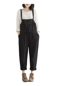 Plus Size Drawstring Waist Loose Fit Casual Overalls