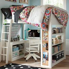 Love this idea for a kid's or teenager's room or small apartment.