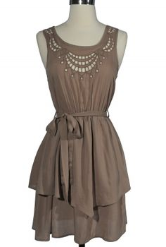 Cute cutout dress, also come in plum. I love the design at the neckline and the asymmetrical layers.