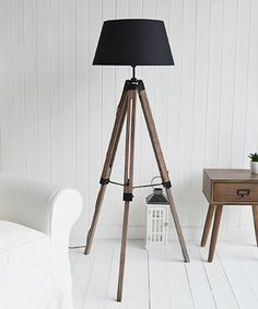 Scandi Tripod floor lamp for nordic style furniture Hallway Furniture, White Furniture, Floor Standing Lamps, Floor Lamp, New England Style, Nordic Style, Tripod, Home Accessories, Beautiful Homes