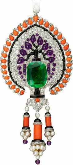 Cartier emerald pearls coral onyx ametyst and diamond save by Antonella B. Rossi