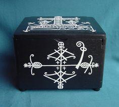 Voodoo Hoodoo Handpainted Veve Altar Box With by CREEPYSTUFF, $55.00
