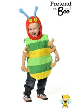 Shop for Kids Caterpillar Tabard at Totally Fancy - This Caterpillar Tabard is a fantastic costume for World Book Day as the Very Hungry Caterpillar! Green and yellow striped padded lined tabard with elasticated sides and brown padded feet Red hood antennae and eye detail  3-7 years. EN71 Toy Safety Tested