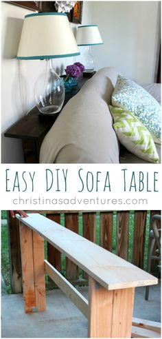 DIY Sofa Table tutorial DIY sofa table - so simple to make! Perfect for holding lamps, books, and decorations.DIY sofa table - so simple to make! Perfect for holding lamps, books, and decorations. Furniture Projects, Home Projects, Diy Furniture, Apartment Furniture, Apartment Interior, Furniture Websites, Furniture Market, Inexpensive Furniture, Furniture Assembly