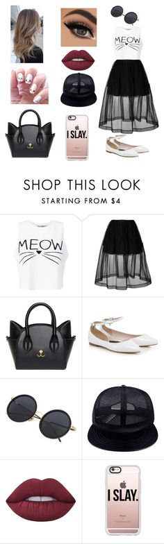 """♡@♡"" by russiacox ❤ liked on Polyvore featuring Miss Selfridge, Simone Rocha, Chicnova Fashion, Lime Crime and Casetify"