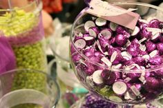 Purple And Green Wedding Ideas | Green, Purple, Candy, Buffet, Jar, Kisses, In the clouds events