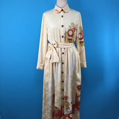 Shirt collar vintage silk kimono dress - hand-drawn and embroidery - US size 6 by PriscillaTokyo on Etsy