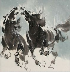 Asian Horses in the Snow Painting