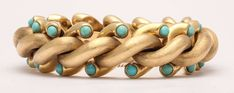Weingrill Turquoise Gold Bracelet   From a unique collection of vintage link bracelets at https://www.1stdibs.com/jewelry/bracelets/link-bracelets/