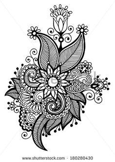 black line art ornate flower design collection, ukrainian ethnic style, raster version