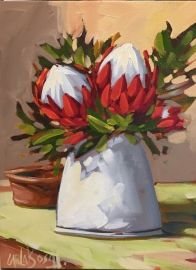Floral Art Oil Painting - Vase of Proteas by Carla Bosch Flower Painting Canvas, Oil Painting Flowers, Gouache Painting, Canvas Art, Ceramic Painting, African Artwork, African Paintings, African Artists, Protea Art