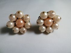 Vintage white and pink pearl cluster earrings 1960s perfect for Spring or Easter costume jewelry on Etsy, $7.00