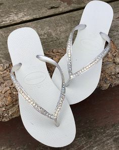 753180fd3 White Havaianas Flip Flops Slim Ivory Moonlight Crystal Wedding ocean  Custom Bridal w/ Swarovski Bling