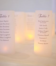 You could have one printed to sit at each table with everyone's name on it and then one for each table at the front table. seating Chart Luminarias Unique Escort Card by thepaperynook by dolores Wedding Table Numbers, Wedding Signs, Our Wedding, Wedding Ideas, Wedding Stuff, Wedding Script, Wedding Details, Dream Wedding, Party
