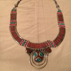 """Vintage Real Afgani Coral Necklace Nepal made Made of German Silver in Vintage silver look. German Silver is a metal alloy long lasting shine like silver but not silver. Real Coral stone laid hand made artistic Necklace. Made is Nepal. 2.3"""" long at the center and 0.7"""" wide, weight 3.5 oz Jewelry Necklaces"""