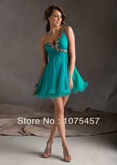 Unique One Shoulder Cocktail Dresses Sweetheart Organza Pleat with Beading Mini Open Back Lace Up Free Shipping CJ113