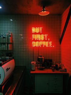 """""""But first coffee"""" Decorative neon / """"But first coffee"""" Neón decorativo."""