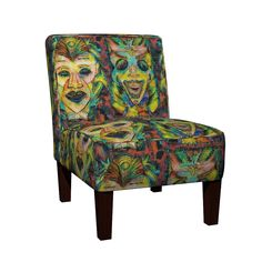 Maran Slipper Chair featuring LARGE 2 TIKI MASKS TRIBAL TROPICAL by paysmage | Roostery Home Decor