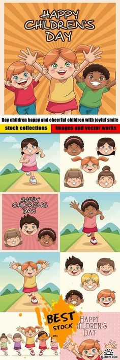 Day children happy and cheerful children with joyful smile