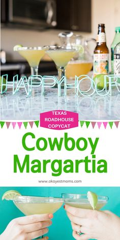 Do you love the Cowboy Margaritas from Texas Roadhouse? Make them at home with this cowboy margarita recipe for Cinco De Mayo or for any summer celebration. Get the recipe at www.okayestmoms.com Easy Drink Recipes, Best Cocktail Recipes, Punch Recipes, Summer Recipes, Party Drinks, Fun Drinks, Beverages, Summer Bbq, Summer Drinks