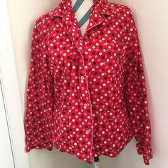 PINK PJ Top Adorable long sleeve flannel top from VS PINK.   Super soft and warm. Red with polka dots and cute dots with dogs. Other than a little wear from wash, no flaws. Size large but runs oversized and could also fit an XL. PINK Victoria's Secret Intimates & Sleepwear Pajamas