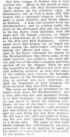 The convict ship Broxbornebury arrived in Port Jackson on 28 July 1814 the same day the Surry arrived with fever raging on board.
