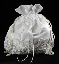 White Satin with Lace Detailing Money Bag Purse - Bridal Purses and Totes - Wedding Ceremony Accessories - Wedding Supplies