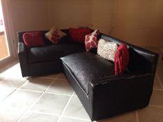 dolls house designer black corner sofa | eBay