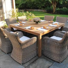 Kingsley Bate Wainscott Collection Square Dining Table - Kingsley Bate s Wainscott square dining tables work well with a either teak or resin wicker dining chairs.Kingsley Bate Wainscott Collection Square Dining Table - Kingsley Bate s W Resin Patio Furniture, Outdoor Wicker Furniture, Backyard Furniture, Rustic Furniture, Modern Furniture, Antique Furniture, Furniture Decor, Furniture Stores, Furniture Makeover