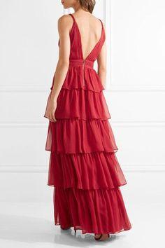Alice Olivia - Gianna Tiered Silk-georgette Gown - Claret - US12