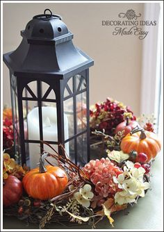 thanksgiving fall table centerpiece, seasonal holiday decor, thanksgiving decorations - could take one of my lanterns and decorate it nicely with gold paint and attached leaves Fall Table Centerpieces, Thanksgiving Centerpieces, Thanksgiving Table, Table Decorations, Wedding Decorations, Easter Centerpiece, Centerpiece Ideas, Easter Decor, Fall Lanterns