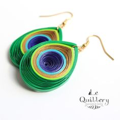 Items similar to OOAK Peacock Feather Earrings - Handmade Paper Quilling Jewelry - Eco Friendly Jewelry on Etsy