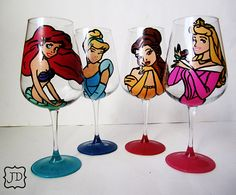 Princess collection  set of 4 hand painted wine by Jdboutique, $70.00=WANT!!