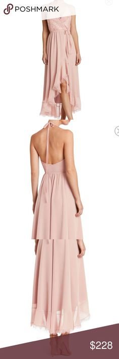 """Chiffon Halter Wrap Midi Dress NWT Gia in rose petal. Beautiful, lightweight, flowing chiffon with lace accents. High/low hemline. Sexy and alluring. Truly more beautiful in person. Perfect for summer special events and formal occasions, wedding, rehearsal, bachelorette, reception, party, cocktail, etc.  Size medium measures bust 34 - 36"""", waist 28 - 30"""", hip 36 - 38"""". Dress the Population Dresses Midi"""
