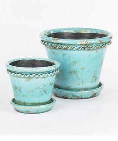 Love this Turquoise Vintage Pot & Saucer Set by Napa Home & Garden on #zulily! #zulilyfinds