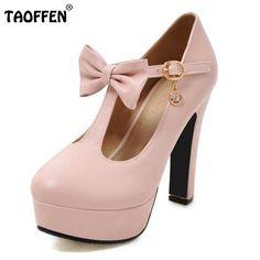 Plus Size 31-47 Vintage T-strap Women High Heel Shoes Ladies Brand Bowtie Round Toe Heeled Pumps Fashion Platform Shoes Women #hats, #watches, #belts, #fashion, #style