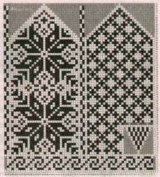 Вязаные спицами варежки с жаккардовым узором - 4 модели со схемами | vjazem.ru Knitted Mittens Pattern, Knit Mittens, Knitting Socks, Wedding Cross Stitch Patterns, Cross Stitch Flowers, Cross Stitch Designs, Knitting Charts, Knitting Patterns, Weaving Patterns