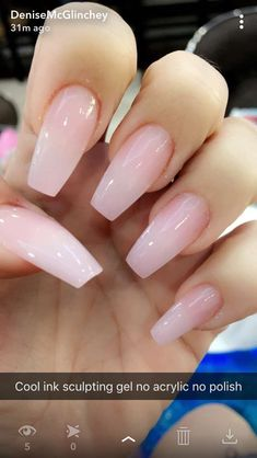 Pink gel nails, pink clear nails, acrylic nails coffin pink, soft p Pink Clear Nails, Pink Gel Nails, Soft Pink Nails, Glitter Nails, Polygel Nails, Nails 2018, Toenails, Black Nails, Pink Powder Nails