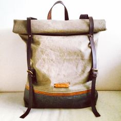 Cow Leather Waxed Canvas Backpack BACKPACK Women's by SoBag1989