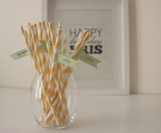 DIY straw flags - these came out perfectly for my baby shower!