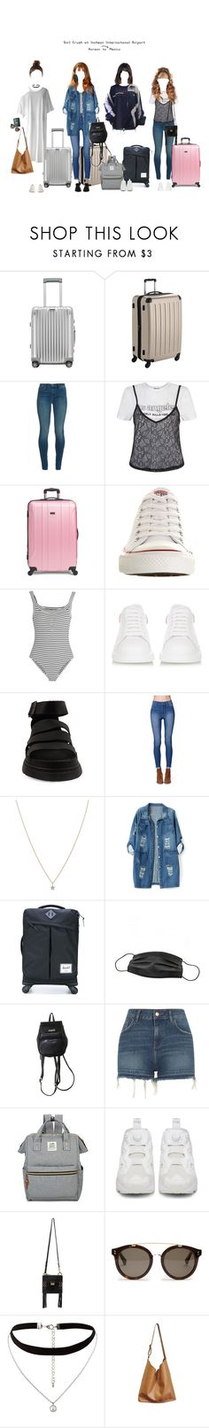 """""""GC: At Incheon Airport Flying to Mexico for KCON."""" by girlcrush-official ❤ liked on Polyvore featuring Rimowa, J Brand, Converse, Topshop Unique, Alexander McQueen, Dr. Martens, Bullhead Denim Co., Missoma, Chicnova Fashion and Herschel Supply Co."""