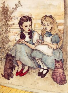 Dorothy (The Wizard of Oz) sitting with Alice (Alice in Wonderland) joined by Dorothy's pet dog and the Cheshire cat (although I think it should be Alice's pet cat Dinah).