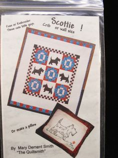 Scottie Crib or wall hanging quilt pattern applique or embroider #TheQuiltsmith