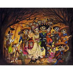 Buy The Village Wedding Ltd Ed Print from original traditional tattoo Inspired artwork by Kerry Evans. Day Of Dead Tattoo, Evans Art, Sugar Skull Art, Sugar Skulls, Day Of The Dead Art, Mexico Art, Halloween Art, Mixed Media Art, Day Of Dead
