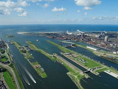 The locks of the North sea Canal in the Netherlands Tata Steel, Holland, North Sea, Grand Tour, Birds Eye View, Travel Around, Netherlands, Places Ive Been, Amsterdam