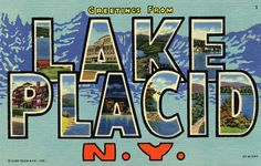 Lake Placid, New York - Large Letter Scenes Giclee Art Print, Gallery Framed, White Wood), Multi Vintage Prints, Vintage Posters, Lake Placid New York, Saranac Lake, New York Poster, Free Canvas, New York Art, Stock Art, Large Letters