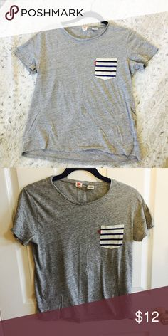 Grey Levi Tee Cute and comfy grey t-shirt with striped pocket (blue and cream). Great for summer!! Levi's Tops Tees - Short Sleeve