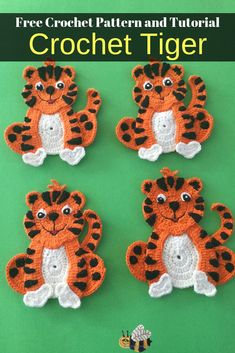 Get this free crochet pattern of a crochet tiger. This and many other crochet animals are available on my website, Kerri's Crochet. #FreeCrochetPatterns #CrochetTiger #CrochetAnimals