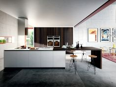 Lacquered wood veneer kitchen VELVET ÉLITE By GD Arredamenti